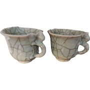 Pair Antique 19th century Chinese Porcelain Ge Ware Celadon Crackle Glaze Foliate Libation Win