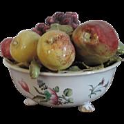 Antique 18th century French Faience Tin Glaze Pottery Veuve Perrin Tromp L'oeil Fruit Bowl ...