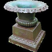 Antique 19th century American Cast Iron 3 Part Oval Garden Urn G. Hitzeroth 3124 Market Street