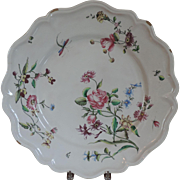 Monumental Antique 19th century French Faience Tin Glaze Pottery Veuve Perrin Charger or Round