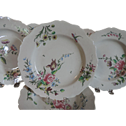 Set Six Antique 19th century French Faience Tin Glaze Pottery Veuve Perrin Dinner Plates