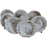 Set Eight Antique Late 18th / Early 19th century French Faience Tin Glaze Pottery Veuve Perrin