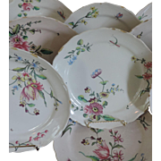 Set Eight Antique 18th century French Faience Tin Glaze Pottery Veuve Perrin Dinner Plates
