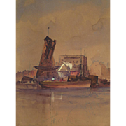 American Ash Can School Watercolor Depicting the East River, New York City, Early 20th century