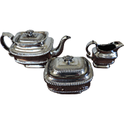 Antique Early 19th century English Silver Lustre Tea Pot, Sugar Bowl and Creamer