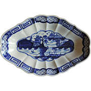Antique 18th century English Worcester Caughley Porcelain Blue & White Dessert Dish in the ...