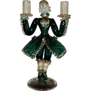 Italian Murano Glass Figural Blackamoor Butler Candlestick