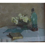 Small 1930 Art Deco Still Life Oil Painting of a Chinese Porcelain Figure, White Roses ...