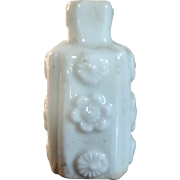 Antique 18th century Chinese Blanc de Chine Porcelain Snuff Bottle with Relief Flower Head ...