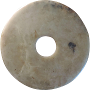 Large Chinese Archaic Ceremonial Religious Stone Representing Heaven Round Disk Pi Bi Amulet M