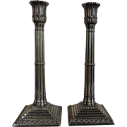 Pair Antique Early 19th century Georgian Old Sheffield Silver on Copper Tall Candlesticks in t