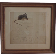 Pre War Pencil Drawing & Watercolor Painting of Mice by Stephen Voorhies Study for Children's