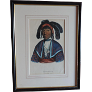 McKenney & Hall Hand Colored Print of Native American Indian Micanopy A Seminole Chief 1840 -