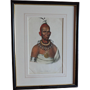 McKenney & Hall Hand Colored Print of Native American Indian Tai-O-Mah a Musquakee Brave 1840
