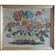 Antique 19th century American Folk Art Theorem of a Flower Basket