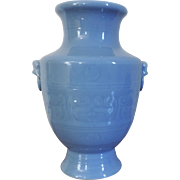 Antique 19th century Chinese Monochrome Clair de Lune Glaze Porcelain Vase in the Archaic ...