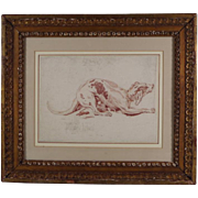 Antique 18th century Italian Drawing of a Greyhound Red Chalk on Paper in French Mat with Carv
