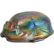 Iridescent Art Glass Egyptian Scarab Beetle Form Paperweight or Lamp Shade