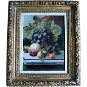 19th c. Oliver Clare Still Life Oil Painting of Fruit and Grapes