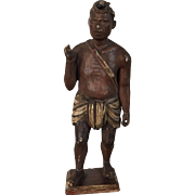 Antique 19th c. Ethnographic Tribal Carved and Paint Decorated Wood Figure of a Warrior South