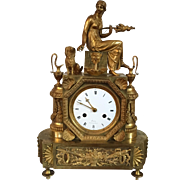 Antique Late 18th / Early 19th century French Empire Directoire Gilt Bronze Mantel Clock by ..
