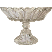 Antique 19th century American Empire Flint Glass Footed Compote Tazza Centerpiece or Fruit Bow