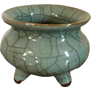 Antique 19th century Chinese Monochrome Porcelain Tripod Censer Bowl in Crackle Celadon Glaze