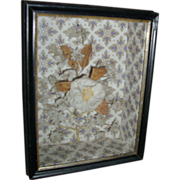 19th c. Victorian Wall Paper Shadow Box with Flower