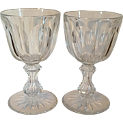 Large Pair Antique 19th century American Brilliant Period ABP Glass Cut Crystal Wine Goblets D