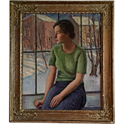 1930's Pre War Portrait of a Young Connecticut Woman & Winter Snow Scene Landscape by Harry Fa