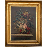 Antique 19th century Continental Oil Painting on Board of a Classical Floral Still Life with B
