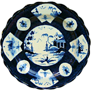 Antique 18th century English Bow Worcester Porcelain Plate in Powder Blue Glaze