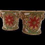 Pair Antique Early 19th century English Davenport Porcelain Bough Pot Vases with Imari Decorat