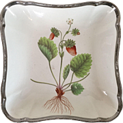 Antique Early 19th century Shorthose Creamware Pearlware Botanical Square Dish Decorated with