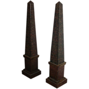 Fine and Rare Pair of Early 19th c. French Empire Tole Obelisks in Paint Decorated Porphyry Fi
