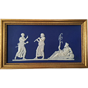 Antique 19th century Wedgwood Dark Blue Neoclassical Jasperware Plaque of a River God in Gilt