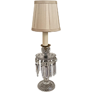 Antique 19th century English Cut Crystal Girandole Luster Candlestick Electrified as a Lamp ..