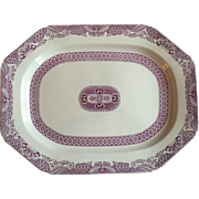 Large Antique 19th century Purple Puce Copeland Spode Porcelain Turkey Platter Decorated in th