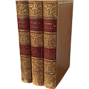 Fine Bindings - Lord Byron's Works 3 Volumes Each Book Bound in Full Tan Leather with Red Titl