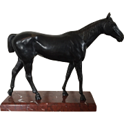 Fine Antique Late 19th century Patinated Bronze Thoroughbred Horse Mounted on Rouge Marble Bas