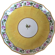 Antique 18th century English Georgian Derby Porcelain Cake Plate Decorated with a Band of Rose