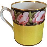 Antique Early 19th century English Georgian Coalport Porcelain Tankard Mug Decorated with Pink