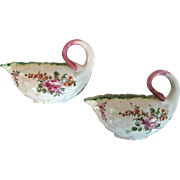 Pair Antique 18th century Georgian Derby Porcelain Small Scale Lettuce or Cabbage Leaf Form Sa