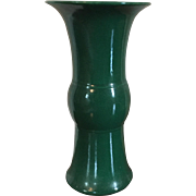 Antique 19th century Chinese Monochrome Porcelain Yen Yen Vase in Green Glaze