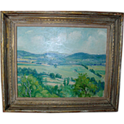George Davidson Connecticut Impressionist Plein Air Landscape Painting Oil on Board c. 1930 wi
