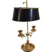 Gilt Bronze Two Light Adjustable Candlestick Bouillotte Lamp in the French Empire Taste with .