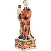 Antique 19th century Chinese Export Famille Rose Porcelain Nodding Head Court Lady Holding a .