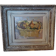 William F. Sommerfeld Oil Painting on Board Still Life of Fruit in a Basket c. 1950