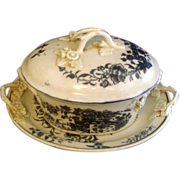 18th c. Worcester Porcelain Blue & White Tureen, Cover & Undertray