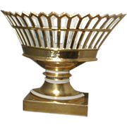 Antique Early 19th c. French Empire Paris Porcelain Gilt Reticulated Basket or Corbeille on St